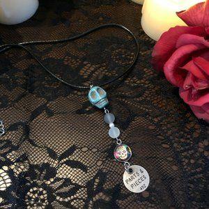 Halloween Blue Sugar Skull Necklace